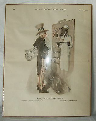Vtg 1921 CREAM OF WHEAT Cereal Uncle Sam Print Ad by G. J. Perrett