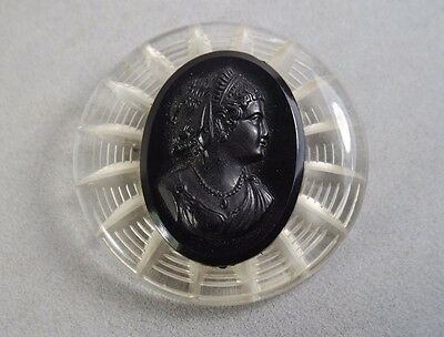 Large Vintage Carved Clear  Celluloid  Black Cameo Brooch/ Estate Jewelry