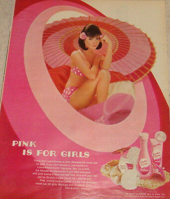 """Lustre Creme Lotion 10"""" X 13"""" ad from 1968 magazine with a pretty girl in pink"""