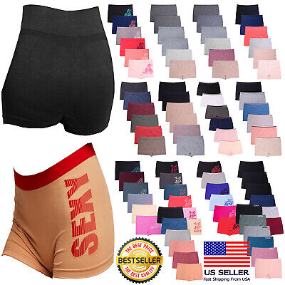 6 Pack Seamless One Size Boy shorts Panties Boxer Women Underwear