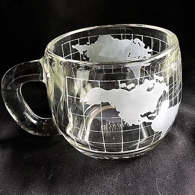 Nestle Nescafe frosted glass cup globe world design no chips,cracks microwave