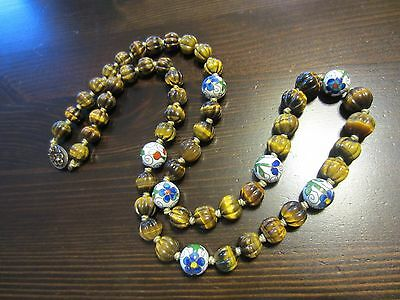 Antique Chinese Carved Melon Tiger's Eye Cloisonne Enamel Bead Knotted Necklace