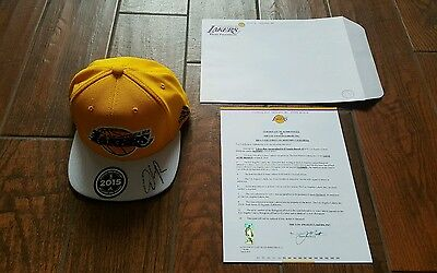 LA Lakers D'Angelo Russel signed 2015 draft hat authenticated by Lakers inc. LOA