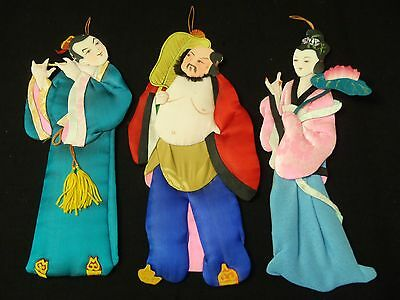 Vintage Trio Chinese Dolls Silk & Paper Hand Painted Gorgeous