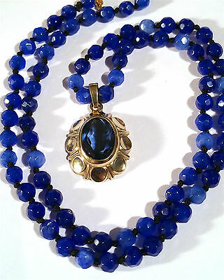 """Elegant 333K Yellow Gold Natural Sapphire Gemstone Necklace and Pendant, 18"""""""