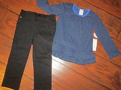 Girls 2pc Blue & Black Shirt & Pants OUTFIT Set size 2T NEW