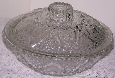 A Beautiful Vintage Decorative Glass Bowl With A Lid