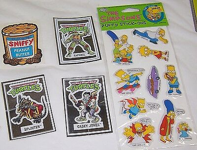 1990 The Simpsons Puffy Stickers,TMNT and SNIFFY ,Mint in pacakage