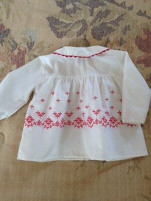 Vintage White Cotton and Red Embroidered Baby Dress or Jacket