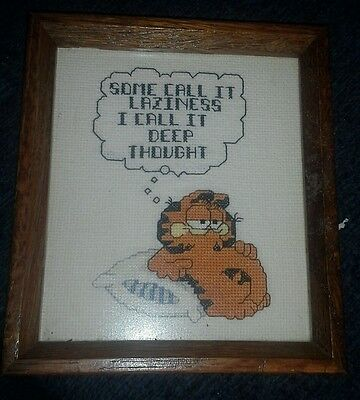 Vintage Garfield laziness deep thought  Framed Needlepoint Needlework  Completed