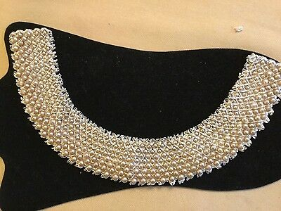 vintage gorgeous collar faux  pearl  ornate clothing hand made back satin