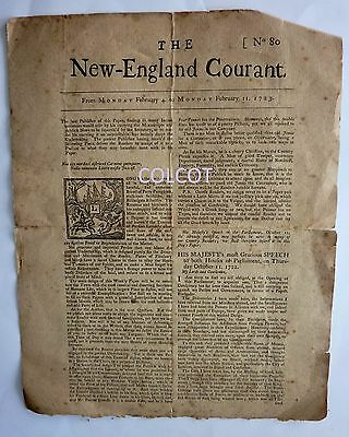 Antiquarian 1888 FACSIMILE BENJAMIN FRANKLIN New-England Courant 1773