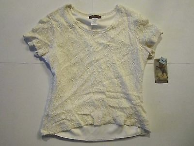 Ranch Dressing New Nwt Women Lace Top Blouse White Short Sleeve Size Junior L