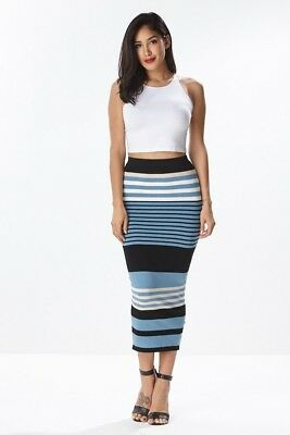 Hera Stripe Knit pencil skirt bodycon fitted S M L