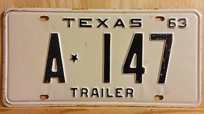 "Vintage Nos 1963 Texas ""trailer"" License Plate 147 (Low Number)"