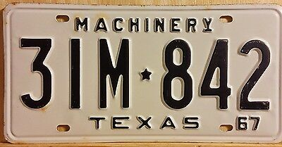"Vintage Nos 1967 Texas ""machinery"" License Plate 842 (New Old Stock)"