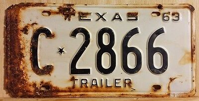 "Vintage 1963 Texas ""trailer"" License Plate 2866"