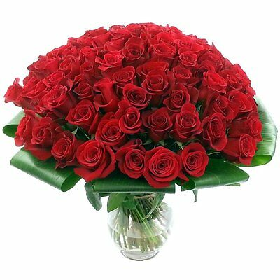 Clare Florist 100 Red Roses Fresh Flower Bouquet