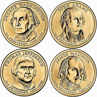 2007 (1st to 4th) US President - Four $1's Uncirculated Coin