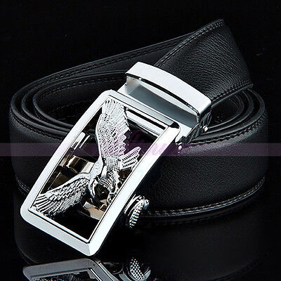 Men Luxury Genuine Leather Belt Alloy Silver Automatic Buckle Dress Waist Strap
