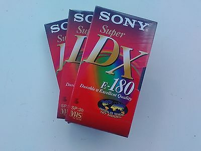 VHS Tapes 3x Sony SuperDX180 Unopened