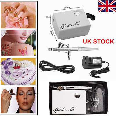 SP16Precision Dual-Action AIRBRUSH AIR COMPRESSOR KIT Craft Cake Hobby Paint UK