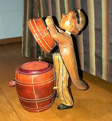 Vintage Anri Carved Wood Moving Man on Barrel W/Swivel ahead, Works Very Well!