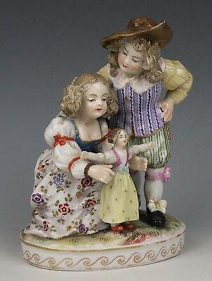 """Antique 18C Dresden Volkstedt figurine """"Boy and Girl with Doll"""" WorldWide"""
