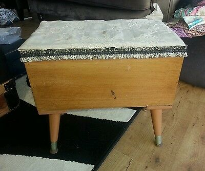 Sewing Box Vintage Retro Wooden With Fabric Top And Hinged Lid With Chain Must C