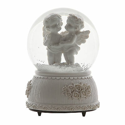 White Lover Baby Angel 360 Degree Rotating Music Box Snow Ball Snow Globes Kids