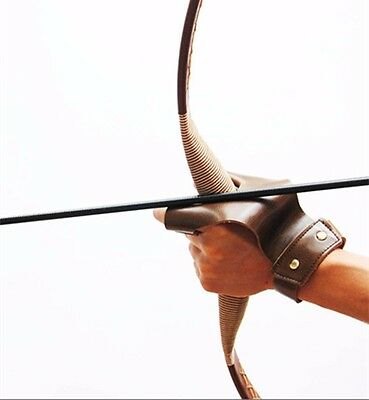 Leather Archery Arrow GloveS 2 Finger Protective Guard for Traditional Long Bow