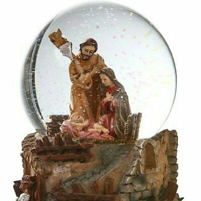 Holy Family Musical Snow Globes -Baby Jesus With Virgin Mary Holy Item Cathedral
