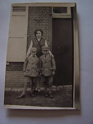 Vintage RP Postcard Woman with two boys with matching suits and caps