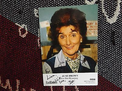 """HAND SIGNED 6"""" x 4"""" PHOTO CARD - EASTENDERS - JUNE BROWN - DOT COTTON"""