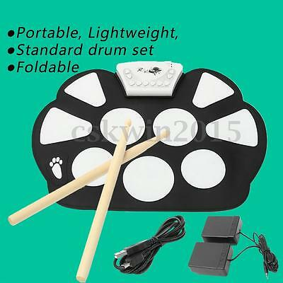 Foldable USB Electronic Roll up Drum Pad Kit Silicon w/Stick Practice Instrument