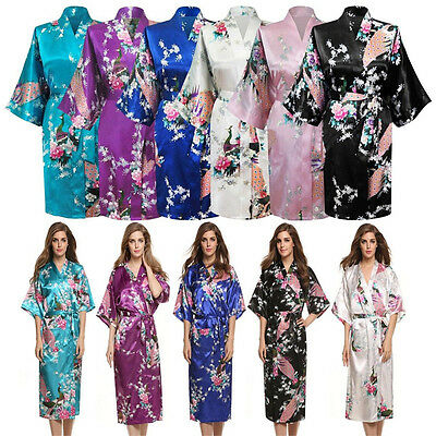 Silk Satin Long Kimono Robe Dressing Gown Wedding Bridesmaid Sleepwear Bathrobe