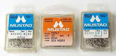 Hameçon simple Mustad Qual.92247 Sea hooks Barbed made in Norway X50 T8 T9