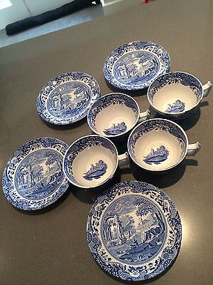 Vintage Spode Blue Cups and Saucers