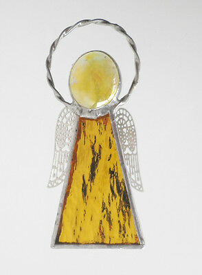 Leadlight Stained Glass Yellow Angel Halo Silver wings handmade in Australia
