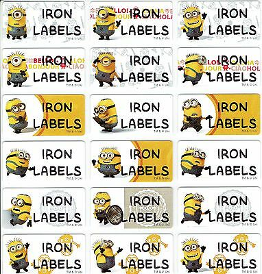 Medium Minions Personalised IRON On Clothing Name Labels, 30x13mm, Waterproof