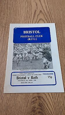 Bristol v Bath April 1980 Rugby Union Programme