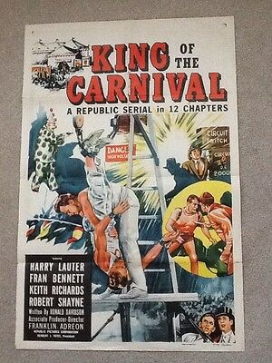 "Original 1955 Film Poster KING OF THE CARNIVAL 40""x27"""