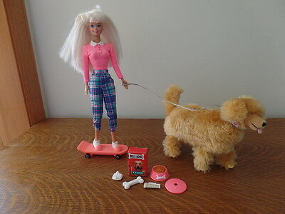 Vintage 1997 Barbie and Walking Ginger Doll Playset