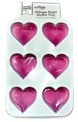 Pink Heart Deep Baking Tray Mould Non Stick Silicone 6 Cake Cupcake Muffin Tin