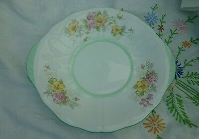 Pretty Vintage Adderley China Cake or Sandwich Plate Floral Green