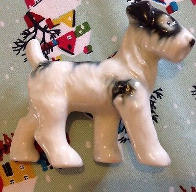 Beautiful Vintage Retro Pottery Black  And White Terrier Perfect Condition 3 1/2