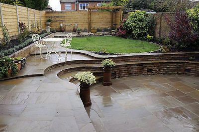 Indian Sandstone Patio Paving Flags - Raj Green / Autumn Brown / Grey Stone 18m2