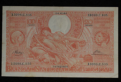 Belgium 1944 100 Francs Note - Strong Very Fine Condition