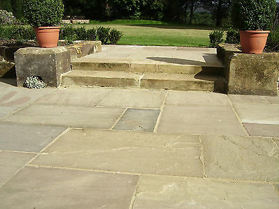 PREMIUM Indian Sandstone CALIBRATED 22mm Patio Paving Slabs Flags RAJ GREEN
