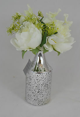 Silver Lustre Vintage Mercury Glass Bottle Bud Vase Wedding Decor Gisela Graham